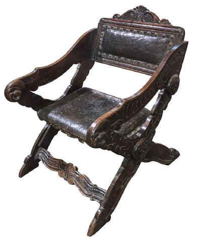 Chair, Gondola Style Italian Walnut, Handsome and Comfortable Vintage / Antique!! - Old Europe Antique Home Furnishings