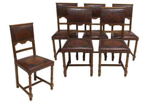 SET OF 6 BEATUTIFUL FRENCH EMBOSSED LEATHER DINING CHAIRS, early 1900s