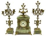 GORGEOUS ANTIQUE NAPOLEON III ONYX CLOCK & GARNITURES, 19th Century ( 1800s )