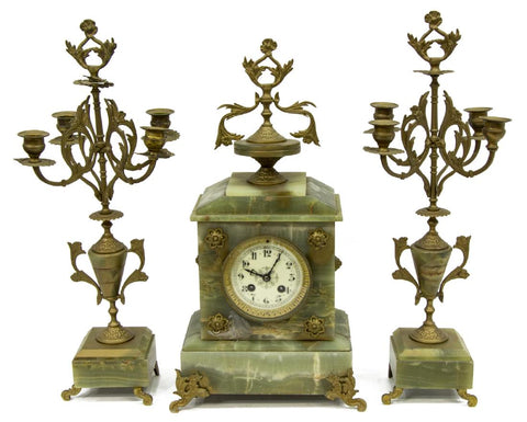 Antique Clock, ,Onyx, & Garnitures, Napoleon III, 19th Century ( 1800s ). Beautiful!! - Old Europe Antique Home Furnishings