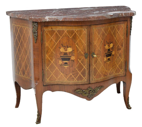 IMPRESSIVE LARGE FRENCH MARBLE TOP FLORAL MARQUETRY SERVER, 19th century ( 1800s )