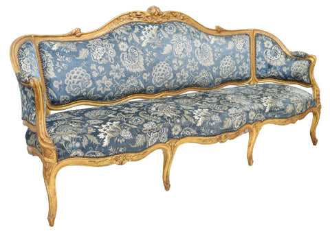 GORGEOUS FRENCH LOUIS XV STYLE PARCEL GILT LONG SOFA, 19th Century ( 1800s )