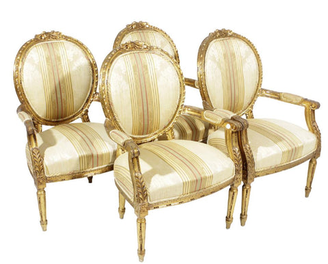 Set of Four Louis XVI Style Giltwood Wood Fauteuil, early 1900s
