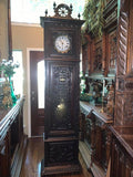 Handsome Antique Brittany Carved Oak Tall Case Clock, 19th Century!! - Old Europe Antique Home Furnishings