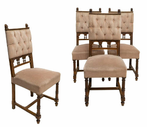 Chairs, Dining, Continental Baroque Style, Set of Four, Charming!! - Old Europe Antique Home Furnishings
