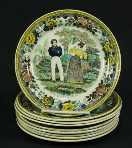 SET OF NINE 19th CENTURY FAIENCE PLATES ( 1800s ) - Old Europe Antique Home Furnishings