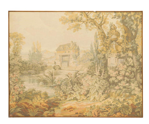 GORGEOUS FRAMED MACHINE-WOVEN TAPESTRY PASTORAL LANDSCAPE, Vintage / Antique - Old Europe Antique Home Furnishings