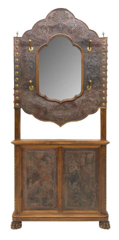 MONUMENTAL FRENCH EMBOSSED LEATHER CARVED HALLTREE, 19th century ( 1800s ) - Old Europe Antique Home Furnishings