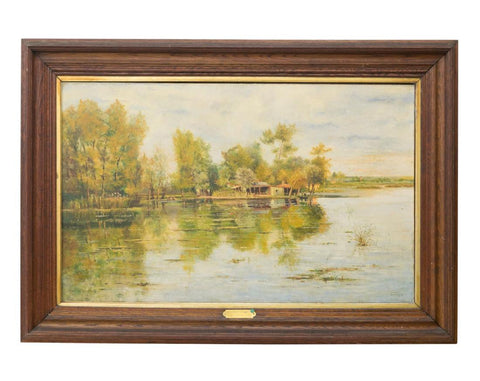 Oil Painting, Pauline Peugniez, Framed on Canvas, 1913, Serene Scene, Handsome Antique!!! - Old Europe Antique Home Furnishings