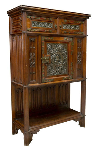 HANDSOME SPANISH GOTHIC STYLE TRACERY CARVED OAK CABINET, 19th century!! - Old Europe Antique Home Furnishings