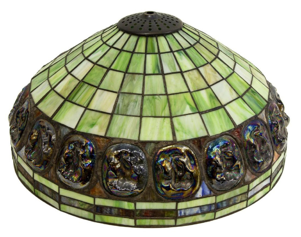 Tiffany Style Stained Inset Art Glass Lamp Shade Antique Old Europe Antique Home Furnishings
