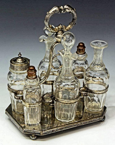 CHARMING VICTORIAN GLASS & SILVERPLATE TABLE CRUET SET, 19th Century ( 1800s )!!! - Old Europe Antique Home Furnishings