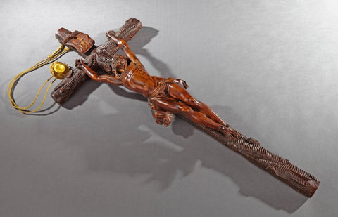 Large French Carved Wooden Wall Crucifix, late 19th century ( 1800s ) - Old Europe Antique Home Furnishings