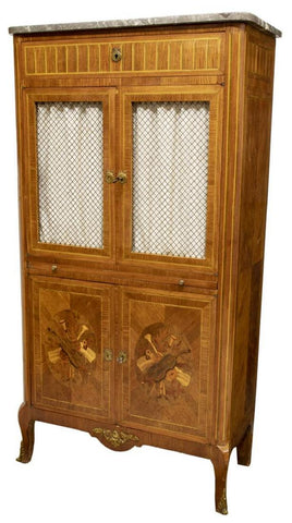 FRENCH MARBLE-TOP MARQUETRY SHEET MUSIC CABINET, 19th century ( 1800s ) - Old Europe Antique Home Furnishings