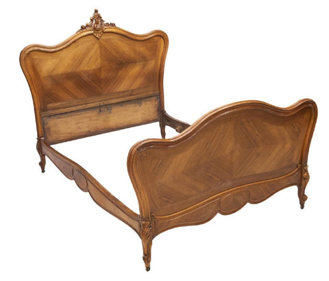 FRENCH LOUIS XV STYLE CARVED WALNUT BED, 19th century ( 1800s ) - Old Europe Antique Home Furnishings