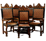Antique Chairs, Dining Set of Six Renaissance Style Carved Walnut Dining, Handsome Vintage Chairs! - Old Europe Antique Home Furnishings