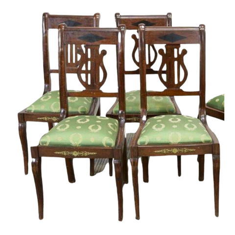 Antique Chairs, Dining Green French Empire Style Mahogany, Handsome Set of Six early 1900s!! - Old Europe Antique Home Furnishings
