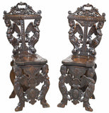 Antique Chairs, Carved,Italian Renaissance, Revival, Pair of Elaborate and Ornate Chairs 1800s!!! - Old Europe Antique Home Furnishings