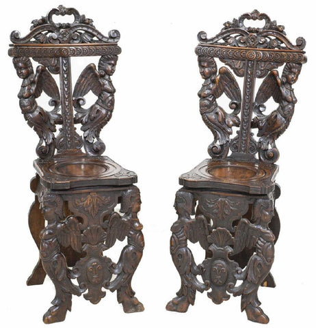 2 ELABORATE ORNATE ITALIAN RENAISSANCE REVIVAL CARVED CHAIRS, 19th century ( 1800s )