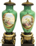 Lamps, Table, Porcelain, Vase, Hand Painted Sevres Style, Stunning! - Old Europe Antique Home Furnishings