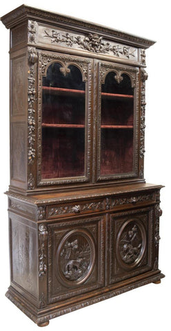 FRENCH HENRI II STYLE CARVED OAK SIDEBOARD / Bookcase 19th century ( 1800s ) - Old Europe Antique Home Furnishings