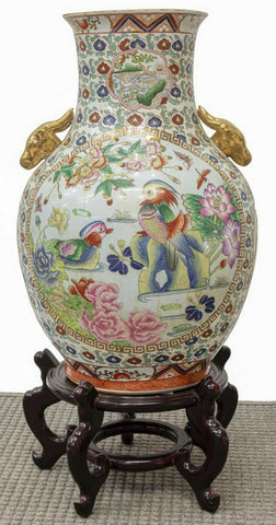 Chinese Vase,  Famile Rose Porcelain Handled Large, Gorgeous! - Old Europe Antique Home Furnishings