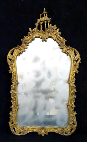 Mirror Gilt Frame w/ Pagoda Motif, Stately - Old Europe Antique Home Furnishings