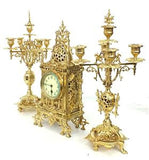 Antique Clock Set, Mantel, Ornate Architectural Ormolu, Set of Three, 19th Century, 1800s, Gorgeous! - Old Europe Antique Home Furnishings