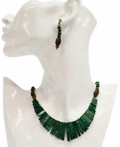 GREEN MALACHITE BEADED NECKLACE & EARRINGS, Gorgeous Jewelry!! - Old Europe Antique Home Furnishings