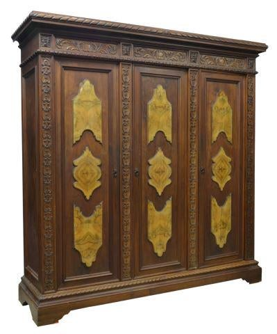 ITALIAN RENAISSANCE REVIVAL CARVED WALNUT ARMOIRE - Old Europe Antique Home Furnishings