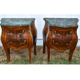Antique Night Stands, Pair Baroque Revival Marble Top Bombe Chests, Beautiful! - Old Europe Antique Home Furnishings