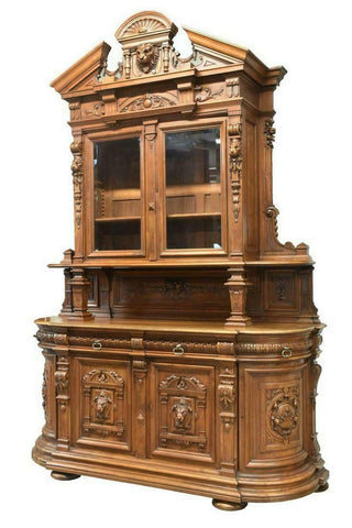 AMAZING FRENCH RENAISSANCE REVIVAL CARVED WALNUT SIDEBOARD, 19th C. ELITE COLLECTION!