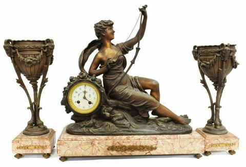 Antique Mantel Clock, French Figural Marble Mantel Clock & Garnitures, Gorgeous! - Old Europe Antique Home Furnishings