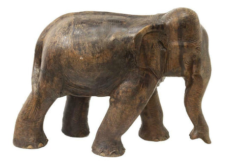 Antique Figure, Wood Elephant, Unique Carving, Great for a Man Cave, 23.5 Ins! - Old Europe Antique Home Furnishings