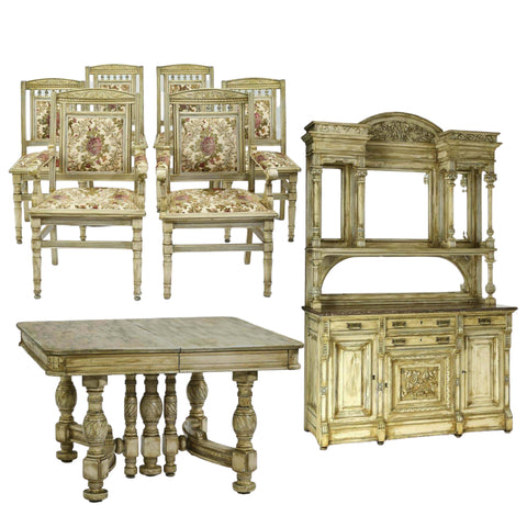 Antique Dining Room Set, Chairs, Table, Sideboard, Set of 6, early 1900s, Amazing Set - Old Europe Antique Home Furnishings