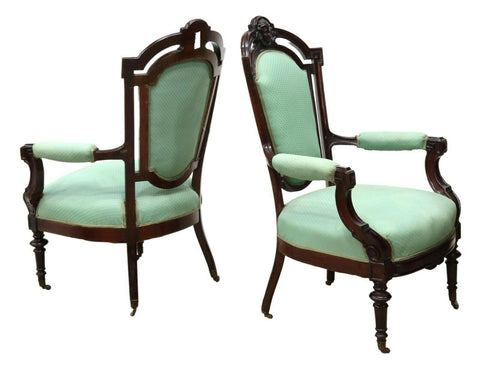 Antique Armchairs, Parlor, Victorian, Pair, two (2) John Jelliff Style Chairs! - Old Europe Antique Home Furnishings