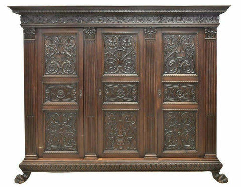 Antique Armoire, Large Italian Renaissance Revival Carved Walnut Armoire, Gorgeous!! - Old Europe Antique Home Furnishings