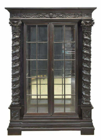 Antique Cabinet, Ebonized Display, Spanish Renaissance Revival, Early 1900s!! - Old Europe Antique Home Furnishings
