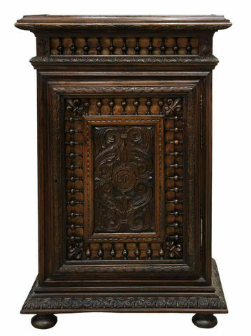 Antique Cabinet, French Henri II Style Carved Oak, Dark Wood, 1800s, Charming! - Old Europe Antique Home Furnishings