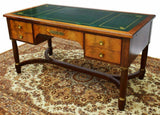 Antique Desk, French Empire Style Mahogany Bureau Plat, Green Top, 1800s!! - Old Europe Antique Home Furnishings