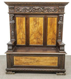 "Antique Cupboard, Cabinet, Heavily Carved Continental Court 2 pc. 65"" Handsome - Old Europe Antique Home Furnishings"