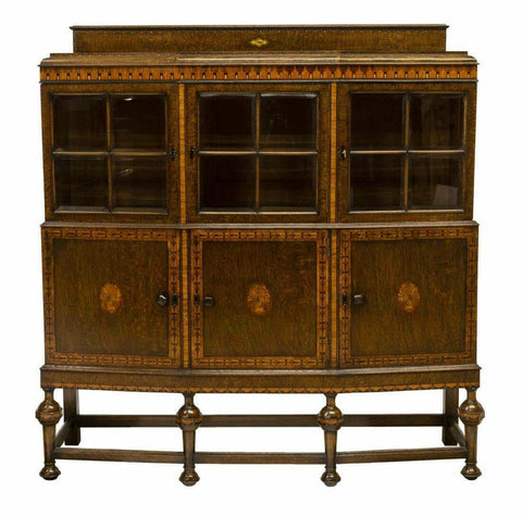 Antique Server, English Oak Marquetry Display Cabinet, Sideboard, Handsome! - Old Europe Antique Home Furnishings
