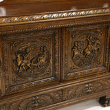 Antique Server, Sideboard, Monumental Continentall Renaissance Revival Carved Oak!! - Old Europe Antique Home Furnishings