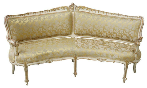 Antique Settee, Corner, Rare, Curved, French Louis XV Style, Parcel Gilt, 1800's
