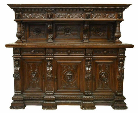 Antique Sideboard, Italian Renaissance Revival Carved, Gorgeous, early 1900s!! - Old Europe Antique Home Furnishings