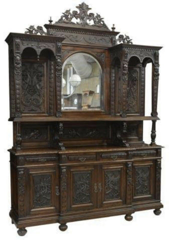 Antique Sideboard, With Mirror, French Renaissance Revival Carved Walnut, 19th C - Old Europe Antique Home Furnishings