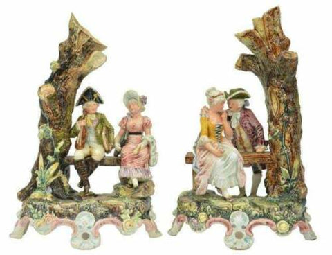 Antique Vases, Pair, Majolical Continental Figural Spill Vases, 19th C. 1800's! - Old Europe Antique Home Furnishings