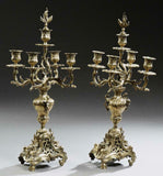 Antique Candelabras, Bronze, French, Louis XV Style Five Light, Pair, 1800's! - Old Europe Antique Home Furnishings
