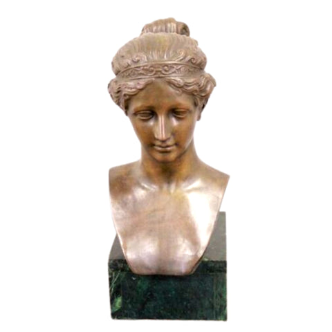 Antique Bronze Bust, Style of a Girl, 16 Inches, Classical Elegant Home Decor!! - Old Europe Antique Home Furnishings