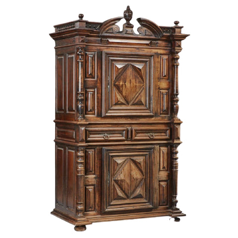 Antique Cabinet or Armoire, French Louis XIII Style Carved Walnut,1800s!! - Old Europe Antique Home Furnishings